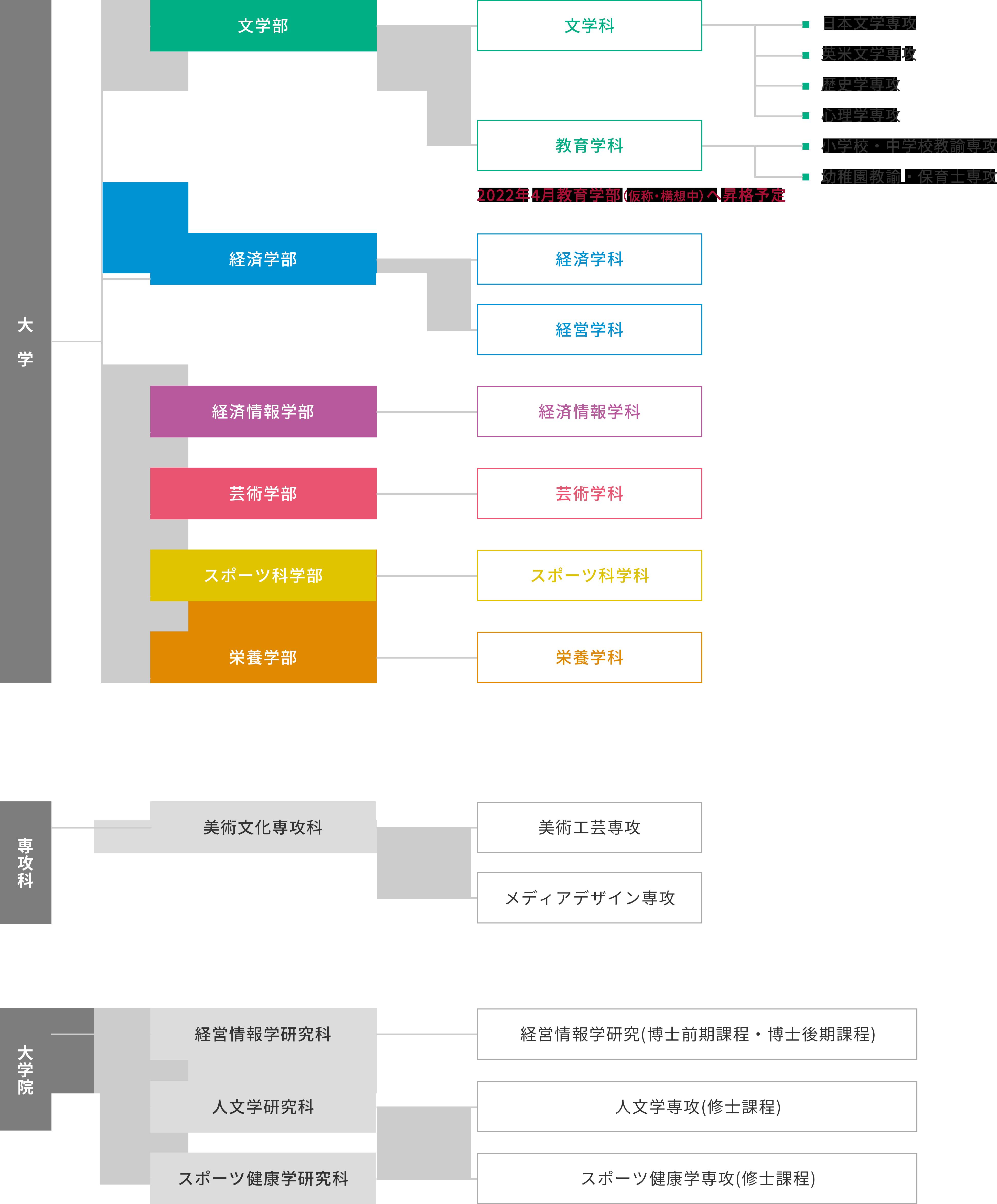 学部・大学院の構成図
